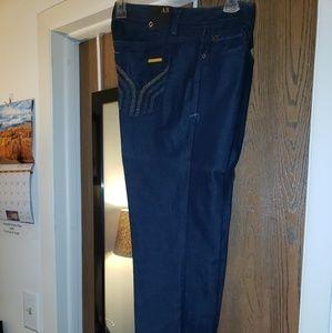Armani Exchange dark denim metallic stitch jeans